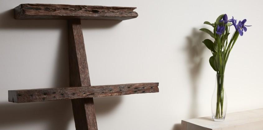 Reclaimed hardwood bookshelf