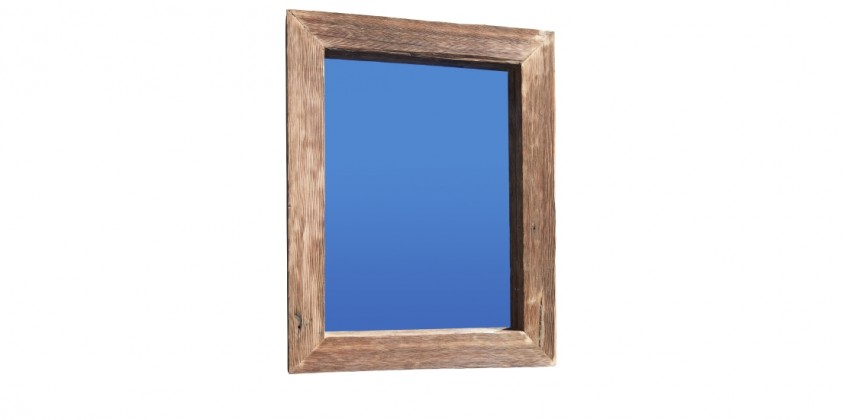 Recycled thin grain timber mirror