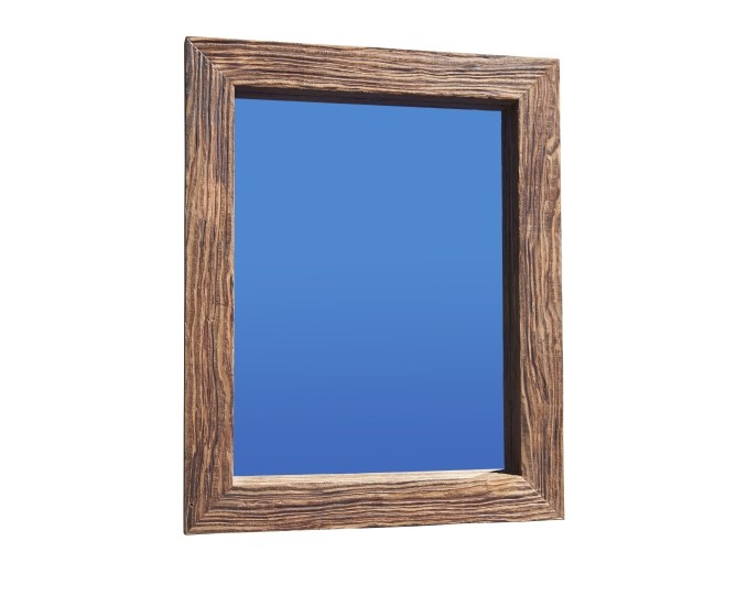 Recycled thick grain timber mirror