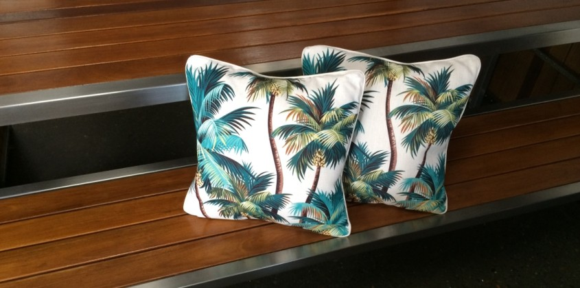 Haven Cushion – Palm Trees White large 1