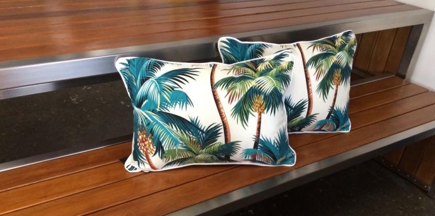 Sanctuary Cushion – Palm Trees White rectangular 1