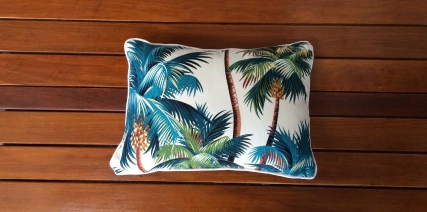 Sanctuary Cushion – Palm Trees White rectangular 2
